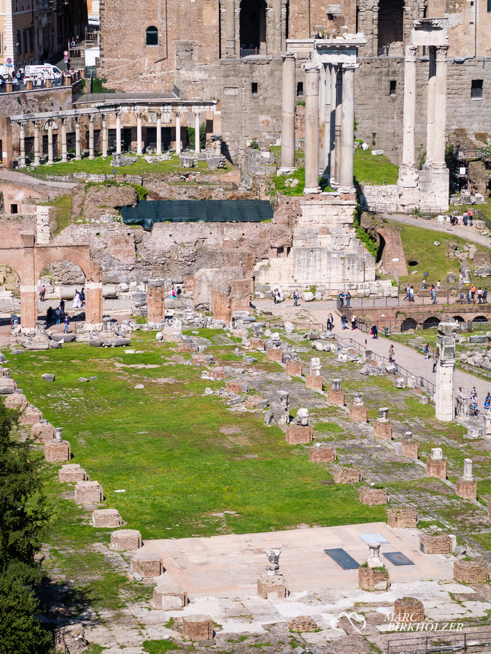 Die Basilica Julia, erb. 54 v Chr. von Julius Cäsar, ist mit einer Länge von 100 m und einer Breite von 50 m die größte Basilika am Forum Romanum