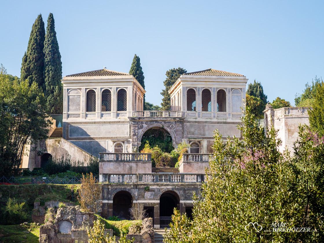Blick vom Forum Romanum hinauf zum Palatin